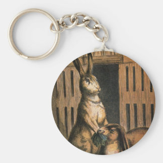Pet Rabbits and Baby Bunnies Eating Keychain