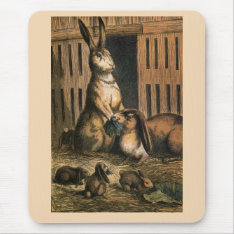 Pet Rabbits And Baby Bunnies Eating Mouse Pad at Zazzle