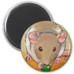 Pet rat adorable cute fun art Cuteness with a Pea 2 Inch Round Magnet