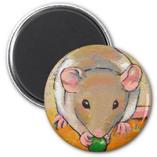 Pet rat adorable cute fun art Cuteness with a Pea Magnet