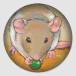 Pet rat adorable cute fun art Cuteness with a Pea Round Stickers