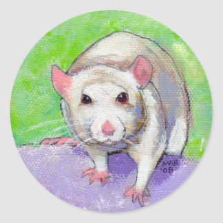 Pet rat cute colorful acrylic painting white rats classic round sticker