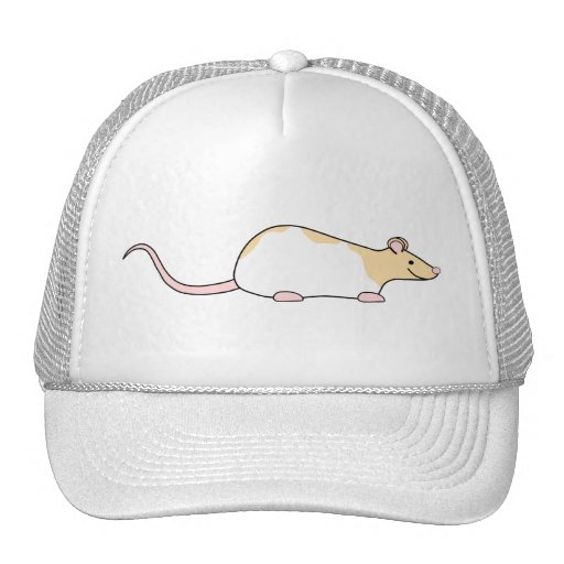 Pet Rat. Fawn and White Hooded Variegated. Mesh Hats