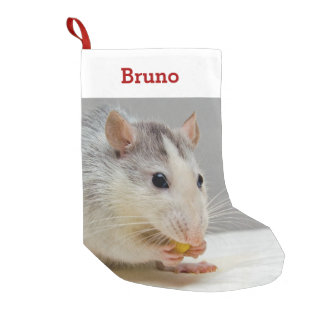 Pet Rat Lover Photo & Name Personalized Small Christmas Stocking