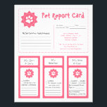 """Pet Report Cards - Pink<br><div class=""""desc"""">These adorable pet report cards for dog groomers can be personalized to fit your needs.</div>"""