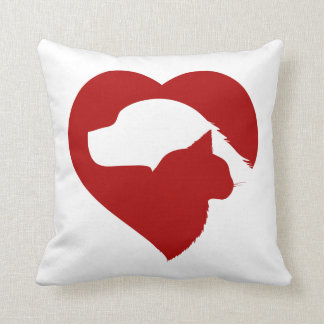 Pet Rescue Cat and Dog Red Heart of Love Throw Pillow