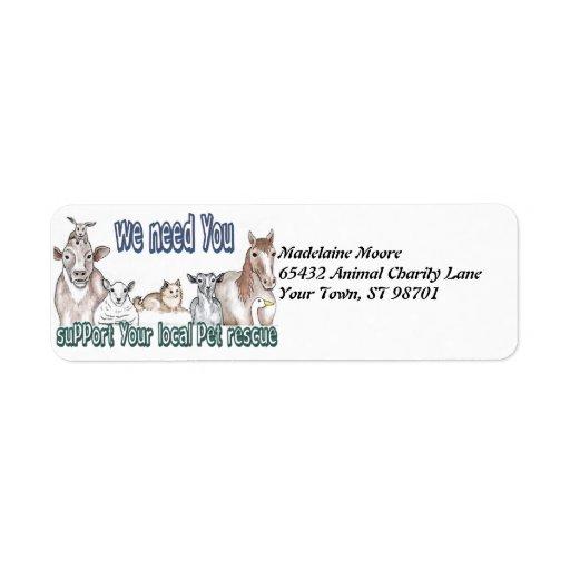 Pet Rescue Return Address Label