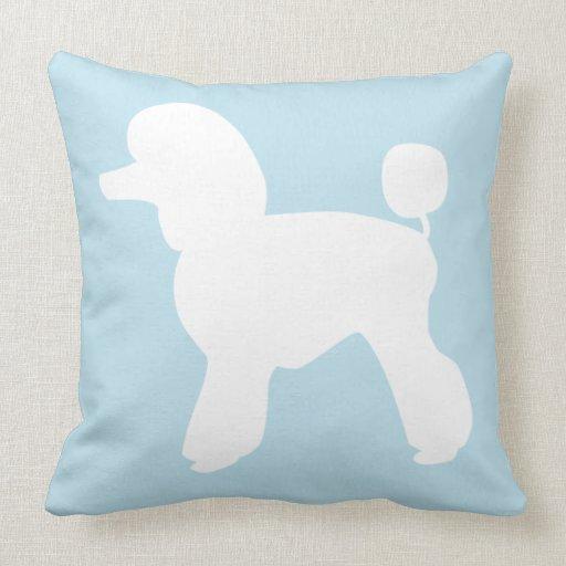 Sky Blue Throw Pillow : Pet Salon Spa Decor Poodle Sky Blue Throw Pillow Zazzle