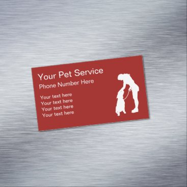 Pet Services Dog With Sitter Business Card Magnet