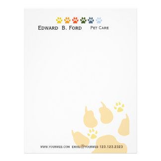 Pet Sitter Animal Care Veterinarian Letterhead