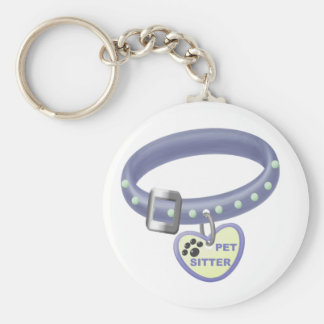Pet Sitter (blue collar) Basic Round Button Keychain