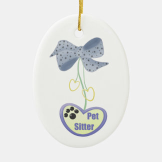 Pet Sitter (blue dangle) Ceramic Ornament