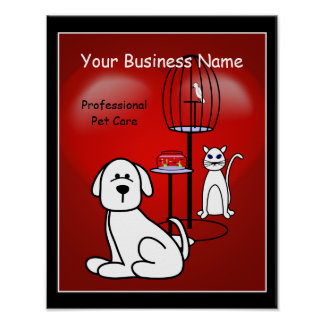 Pet Sitter Boarding Business Hearts Sign Poster