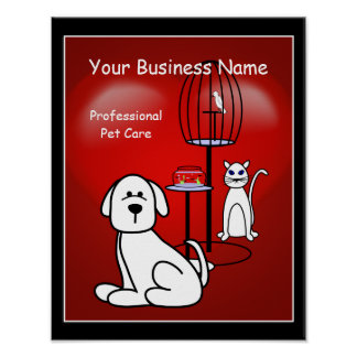 Pet Sitter Boarding Business Hearts Sign Poster 1