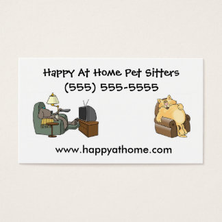Pet Sitter Business Card Cat and Dog in Chair