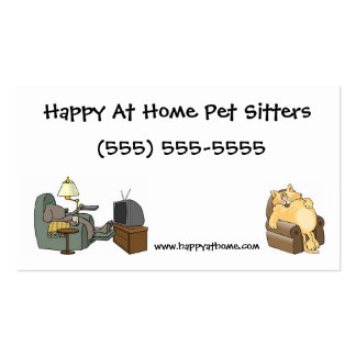 Pet Sitter Business Card Cat and Dog in Chairs