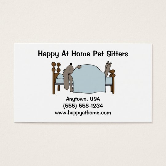 Pet Sitter Business Card Dog in Bed
