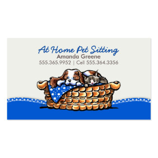 Pet Sitter Business CKCS w/ Cat Blueberry Double-Sided Standard Business Cards (Pack Of 100)