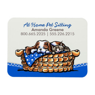 Pet Sitter Business CKCS w/ Cat Blueberry Magnet