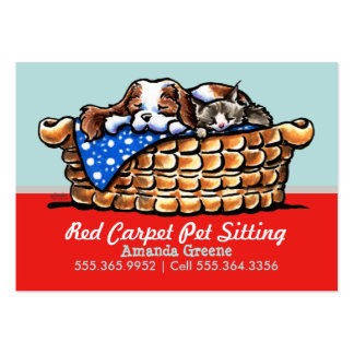 Pet Sitter Care Business CKCS w/ Cat Cherry Large Business Cards (Pack Of 100)