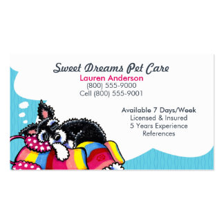 Pet Sitter Care Business Schnauzer Puppy Blue Double-Sided Standard Business Cards (Pack Of 100)