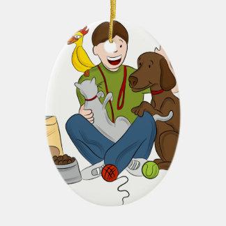 Pet Sitter Cartoon Ceramic Ornament