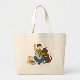 Pet Sitter Cartoon Large Tote Bag