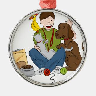 Pet Sitter Cartoon Metal Ornament