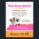 """Pet Sitter Coupon Ad Yorkie Cat Couch Pink Flyer<br><div class=""""desc"""">Click Read More to see coordinating products. Promote your pet sitting business with these full color eye-catching flyers that you personalize with your own info. Original design by Andie, illustrator and creator of Off-Leash Art™, featuring her hand drawn Biewer Yorkie and Ragdoll illustration on bright pink couch. To change the...</div>"""