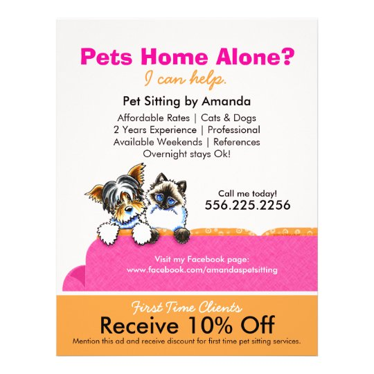 pet sitter coupon ad yorkie cat couch pink flyer