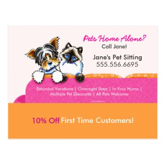 Pet Sitter Coupon Mailer Ad Yorkie Cat Couch Pink