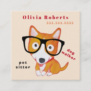 pet sitter cute corgi square business card