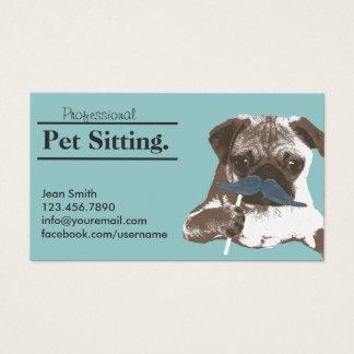 Pet Sitter Cute Mustache Dog Pet Care Business Card