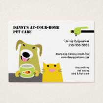Pet Sitter- Dog Cat Bird & Fish-white background Business Card