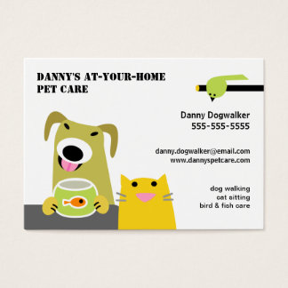 Pet Sitter- Dog Cat Bird & Fish-white background Business Card