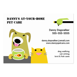 Pet Sitter- Dog Cat Bird & Fish-white background Large Business Card
