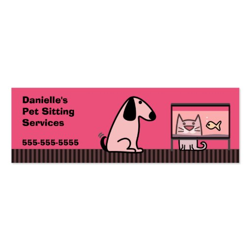 Pet sitter dog cat double sided mini business cards for Pet business cards