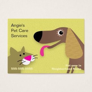 Pet Sitter - Dog & Cat Yellow Business Card