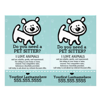 Pet Sitter.Dog Sitter.2 for 1.Customizable. Flyers