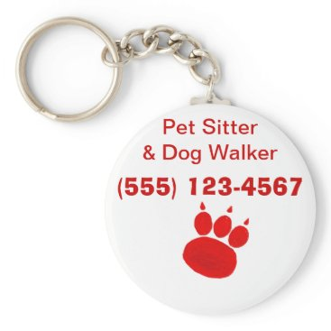 Professional Business Pet Sitter & Dog Walker Paw Print Keychain