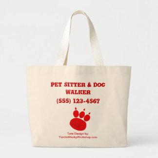 Pet Sitter & Dog Walker Paw Print Large Tote Bag
