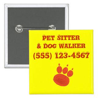Pet Sitter & Dog Walker Paw Print Pinback Button