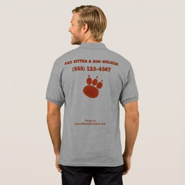Professional Business Pet Sitter & Dog Walker Paw Print Polo Shirt