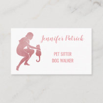 Pet Sitter Dog Walker Pink Sparkle Cat Silhouette Business Card