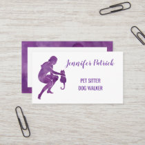 Pet Sitter Dog Walker Watercolor Cat Silhouette Business Card