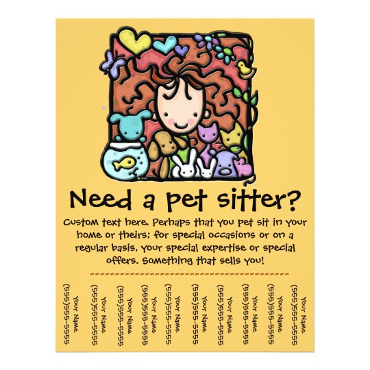 Pet Sitter Promotional Tear Sheet Flyer Zazzle Com