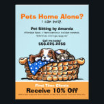 """Pet Sitter Sitting Ad Coupon CKCS/kitten Flyer<br><div class=""""desc"""">Promote your pet sitting business with these full color eye-catching flyers that you personalize with your own info. Original design by Andie, illustrator and creator of Off-Leash Art™, featuring her hand drawn CKCS &amp; kitten illustration. To change the background color, click the orange &quot;customize it!&quot; button below the product image,...</div>"""
