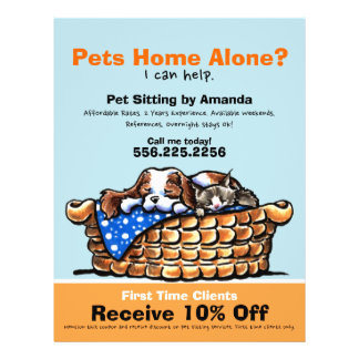 Pet Sitter Sitting Ad Coupon CKCS/kitten Flyer