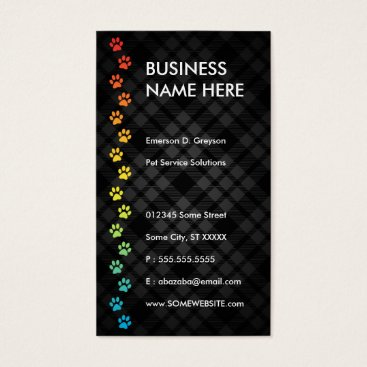 Professional Business pet sitter streamline rainbow business card