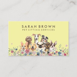 Pet Sitter Walker dog care groom Business Cards
